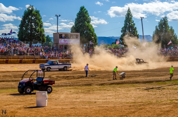 Truck tug of war photo. Demolition Derby day in Banks, Oregon.