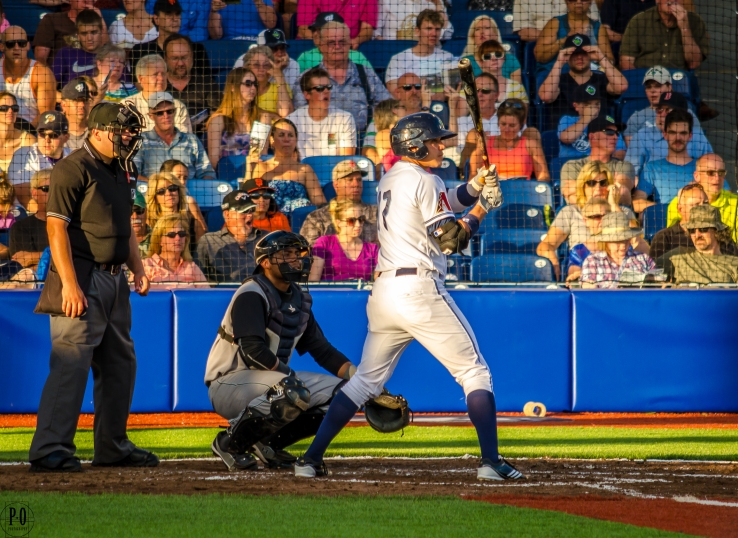 Photo of Hillsboro Hops baseball player at bat