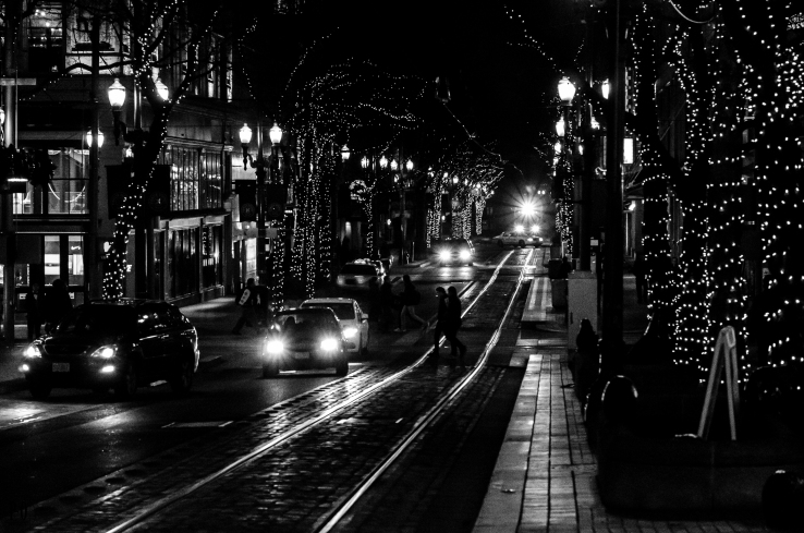 Downtown Portland Oregon on Christmas Eve 2013