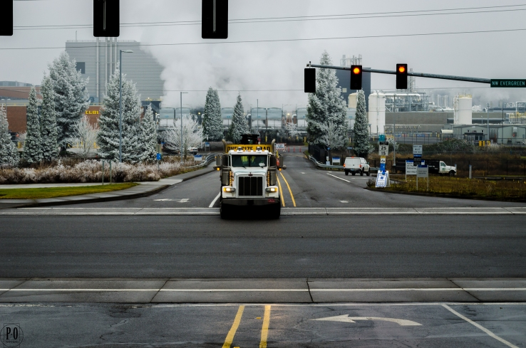 photo of Intel campus and truck Hillsboro Oregon
