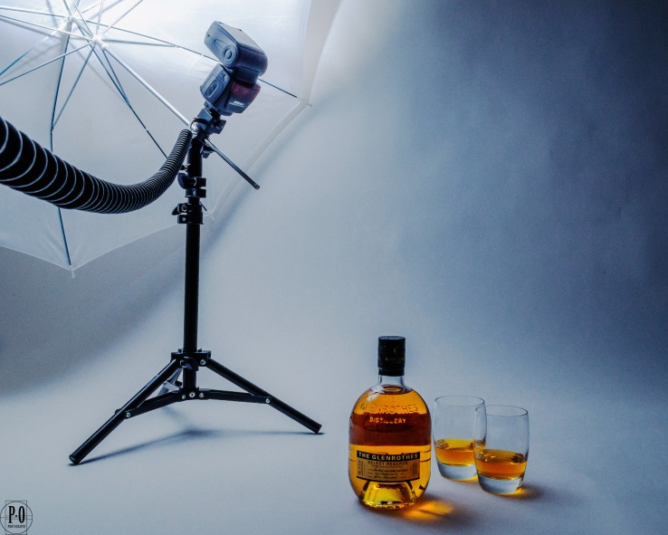 Scotch whisky in home studio setting