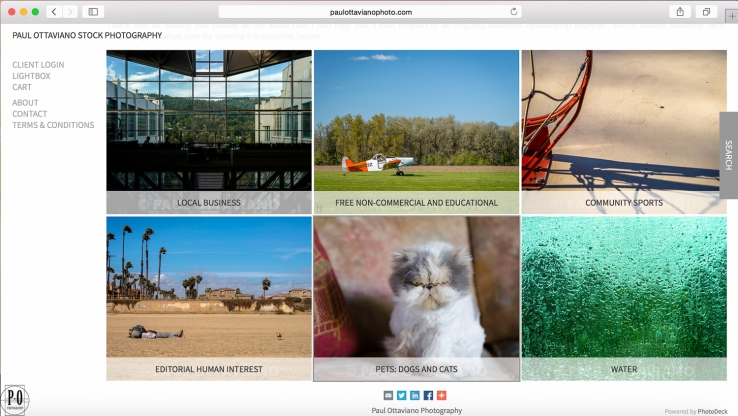 Paul Ottaviano Stock Photography home page screenshot