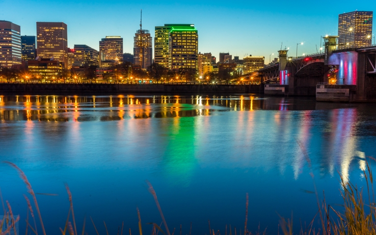 night skyline photo of Downtown Portland Oregon by Paul Ottaviano