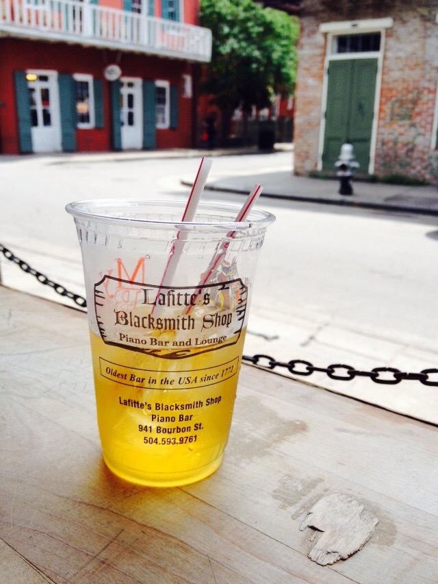 smart phone pic of whiskey at Lafitte's Blacksmith Shop and Bar by Paul Ottaviano