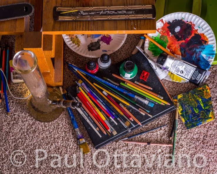 still life of art supplies and water bong by paul ottaviano
