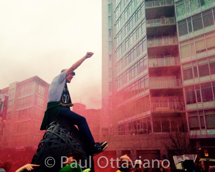 Timbers Army celebrates MLS Cup win. PDX street photography by Paul Ottaviano.