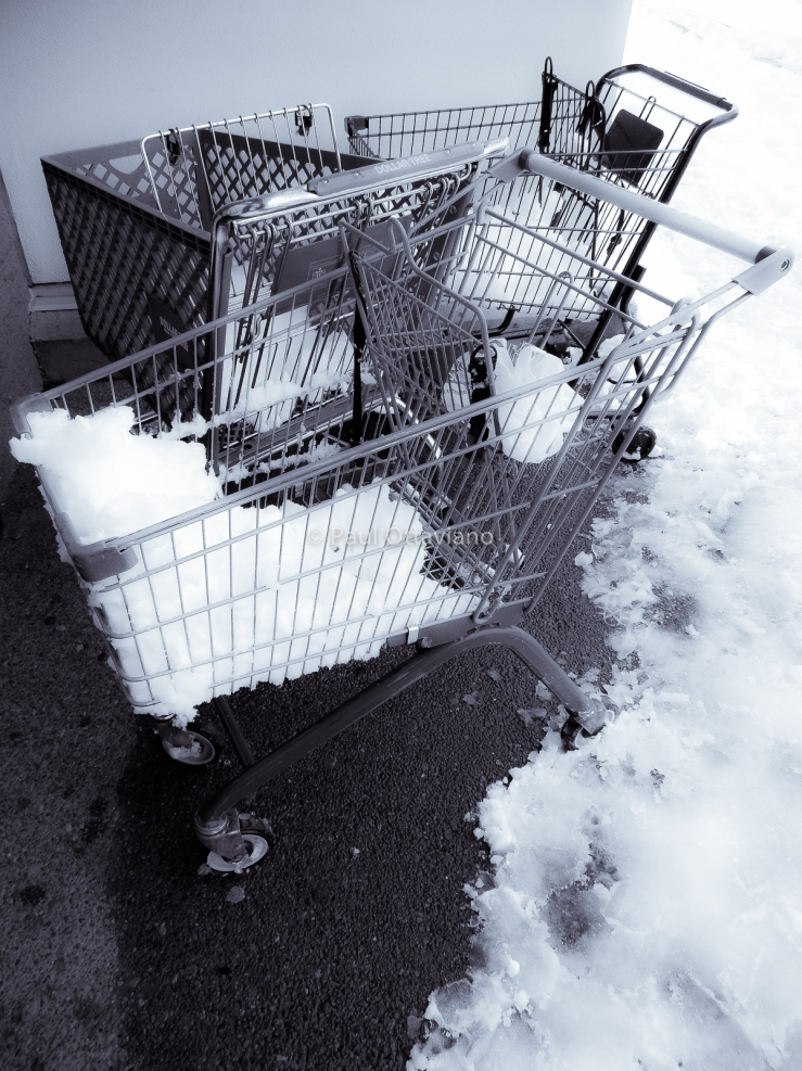 photo of shopping carts with snow in them