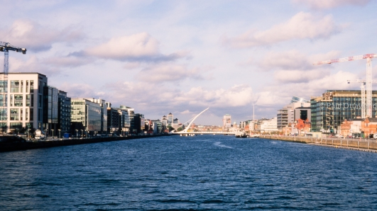 landscape photo new construction river liffey Dublin Ireland