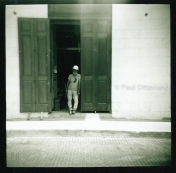 Diana film camera portrait of a construction worker Panama City, Panamá