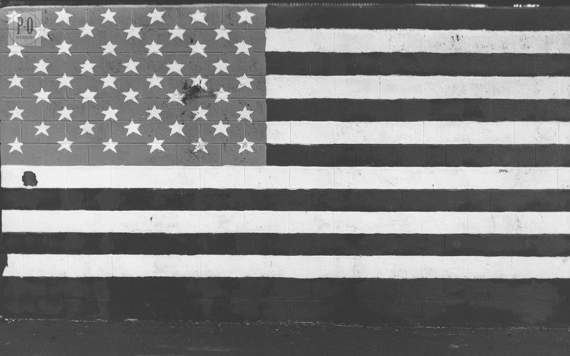 american flag black and white photo