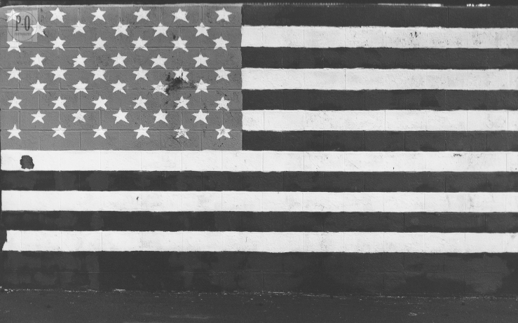 american flag black and white photo