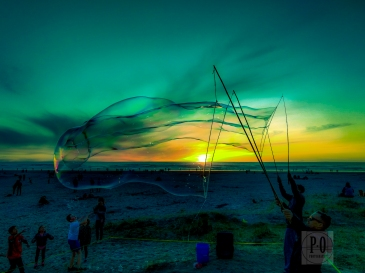 bubble artists sunset beach landscape seaside oregon