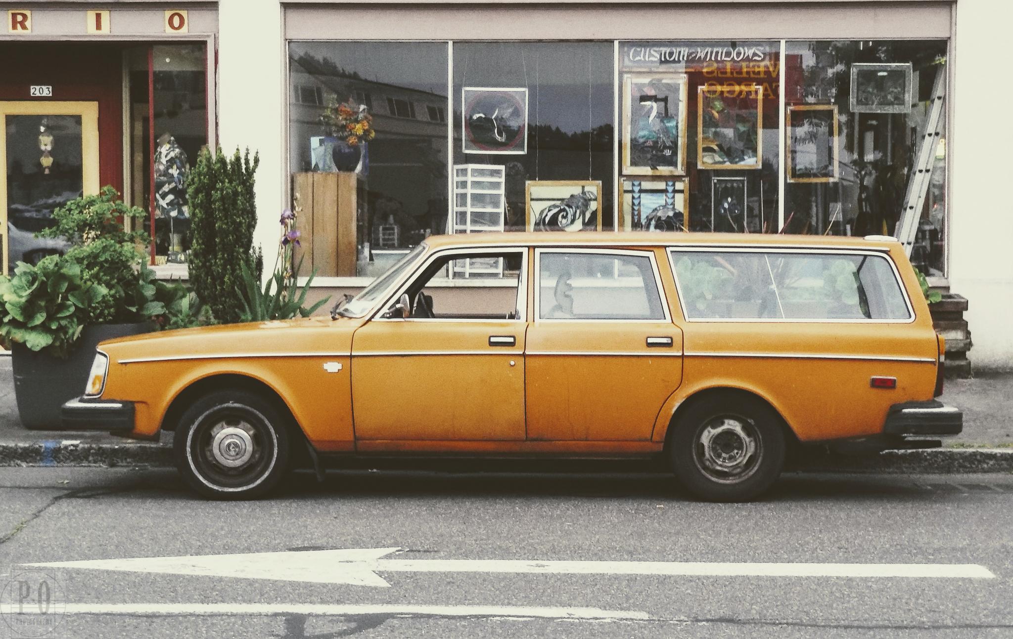 old vintage retro orange volvo station wagon image