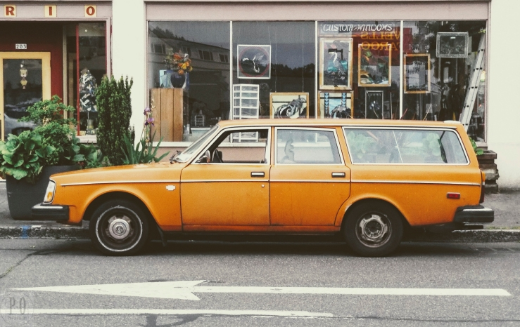 old vintage retro orange volvo station wagon image